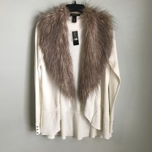 New White House Black Market Faux Fur Cardigan